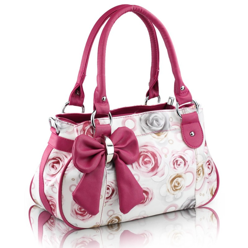Bolsa Feminina Couro Floral Laça Branca e Pink