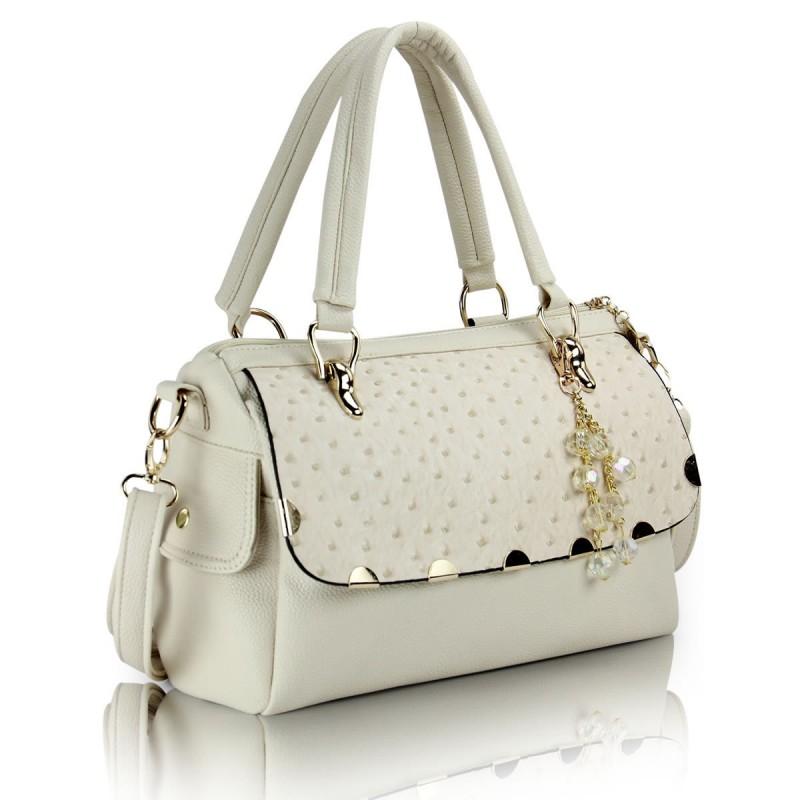 Bolsa Feminina Gelo com Detalhes em Dourado Elegante Pequena