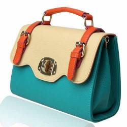Bolsa Feminina Vintage Maleta Colorida Azul
