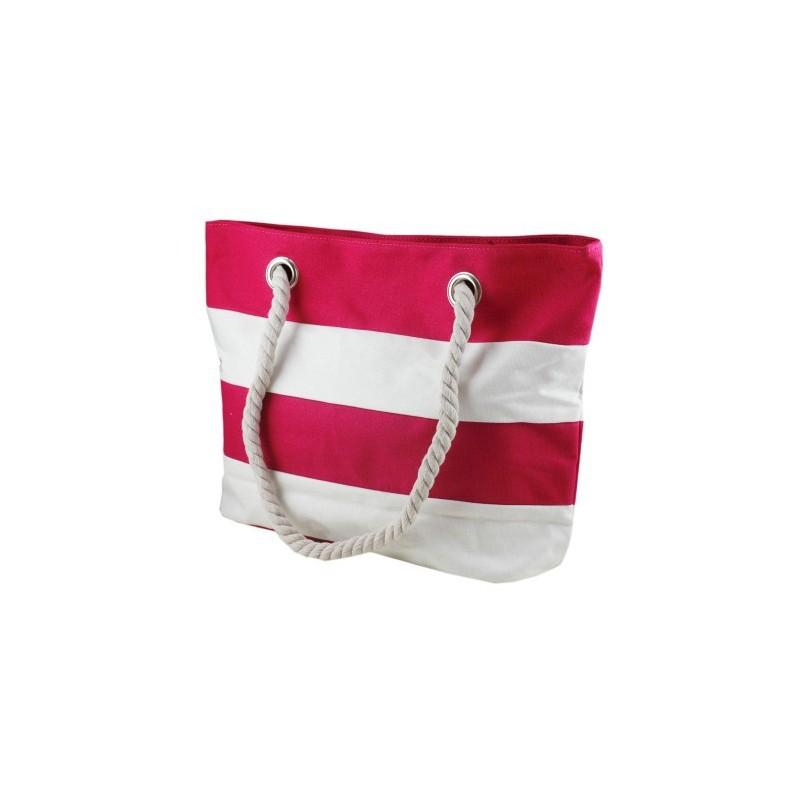 Bolsa Feminina Listrada Vermelha e Branca Alça de Corda