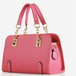 Bolsa Feminina Rosa com Dourado Couro