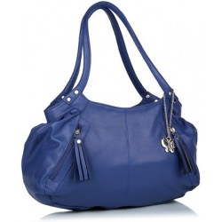 Bolsa Azul Feminina Hobo com Pingente