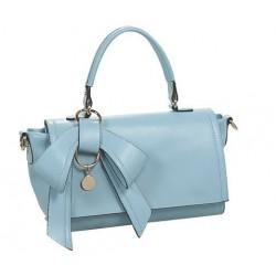 Bolsa de Mão Feminina Azul Claro Couro