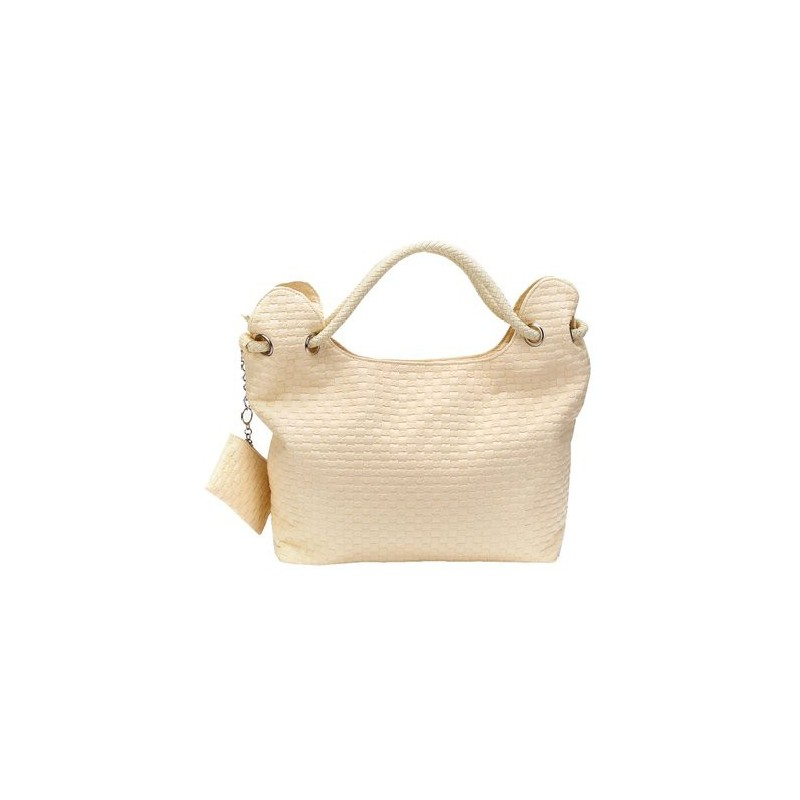 Bolsa Feminina Couro Texturizado com Alça de Corda
