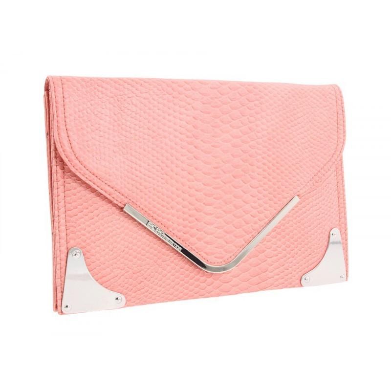 Bolsa Envelope Feminina Textura Couro de Cobra Rosa