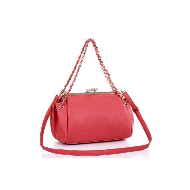 Bolsa Feminina Vermelha Frame Couro Texturizado