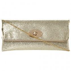 Bolsa Feminina Envelope para a Noite Dourada com Brilho