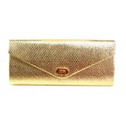 Bolsa Envelope de Mão Dourada Brilhante Social