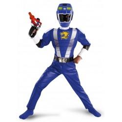 Fantasia Luxo Power Ranger Azul Infantil Meninos