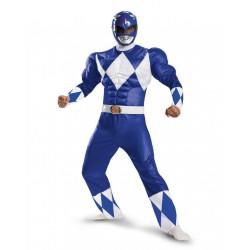 Fantasia Luxo Power Ranger Azul Masculino Músculos