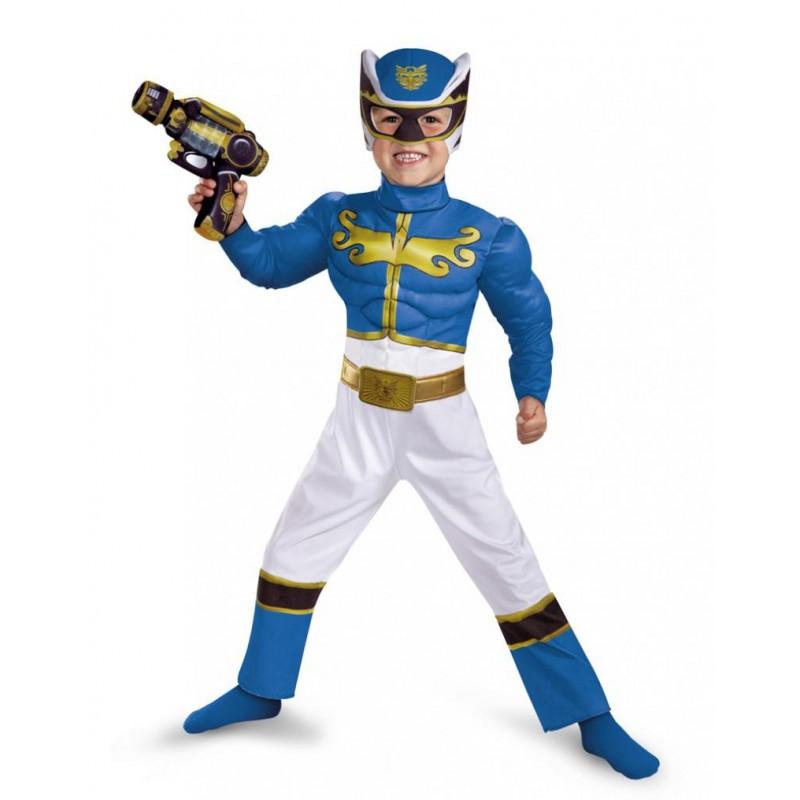 Fantasia Luxo Power Ranger Azul Megaforce Infantil Meninos