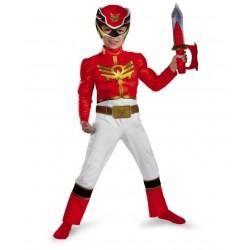 Fantasia Luxo Power Ranger Megaforce Vermelho Infantil Meninos