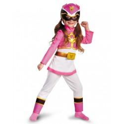 Fantasia Luxo Power Ranger Rosa Megaforce Infantil Meninas