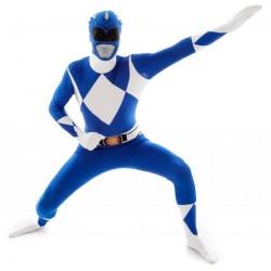 Fantasia Power Ranger Azul Masculino Adulto