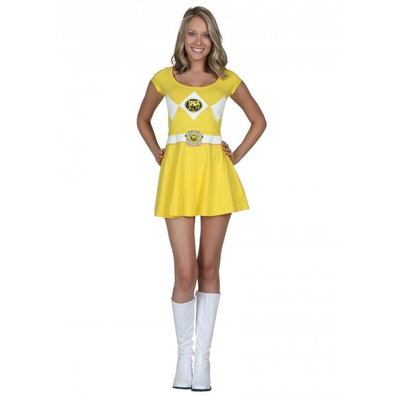 Fantasia Vestido Power Ranger Amarela Adulto Feminina