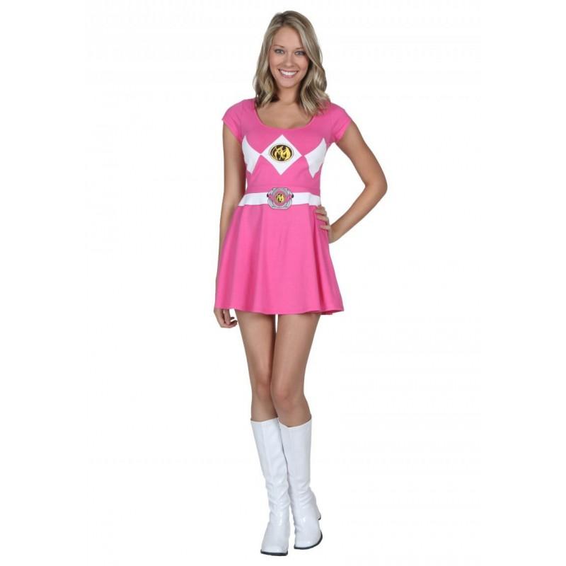 Fantasia Vestido Power Ranger Rosa Adulto Feminina