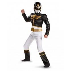 Fantasia Luxo Power Ranger Preto Megaforce Infantil Meninos