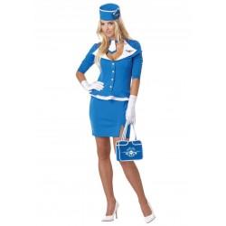 Fantasia Comissária de Bordo Azul Aeromoça Feminino