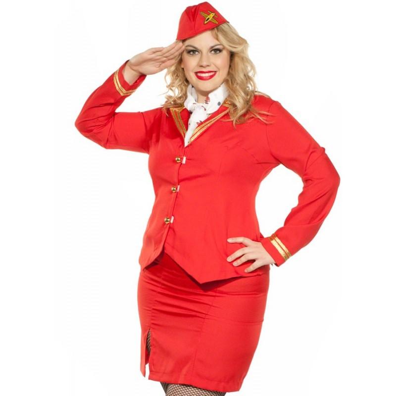 Fantasia Comissária de Bordo Plus Size Vermelha Aeromoça