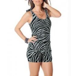 Macaquinho Curto Macacão Feminino Estampa Zebra Curto Verão