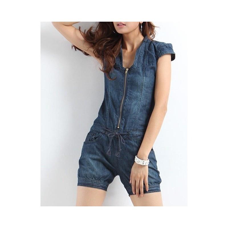 Macaquinho Feminino Macacão Curto Jeans Azul Ziper