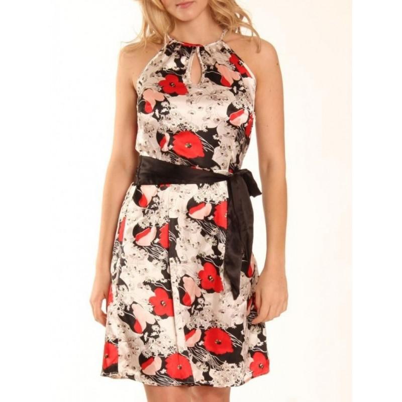 Vestido Curto Cetim Floral Vermelho e Branco
