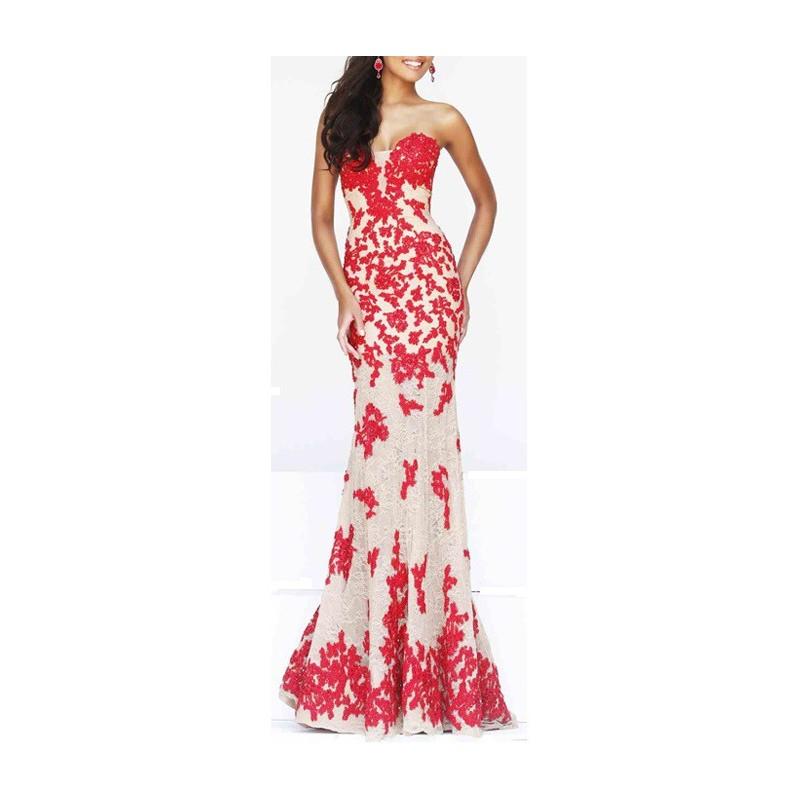 Vestido Longo Sereia Decote Coração Branco com Renda Vermelha Festa
