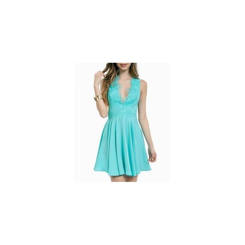 Vestido Chiffon Azul Curto Festa Saia Godê Decote V