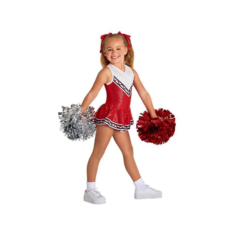 Fantasia Cheerleader Líder de Torcida Vermelho Infantil Meninas