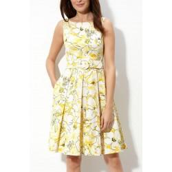 Vestido Curto Floral Amarelo e Branco com Pregas