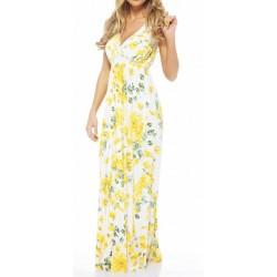 Vestido Longo Casual Floral Amarelo e Branco Decote em V