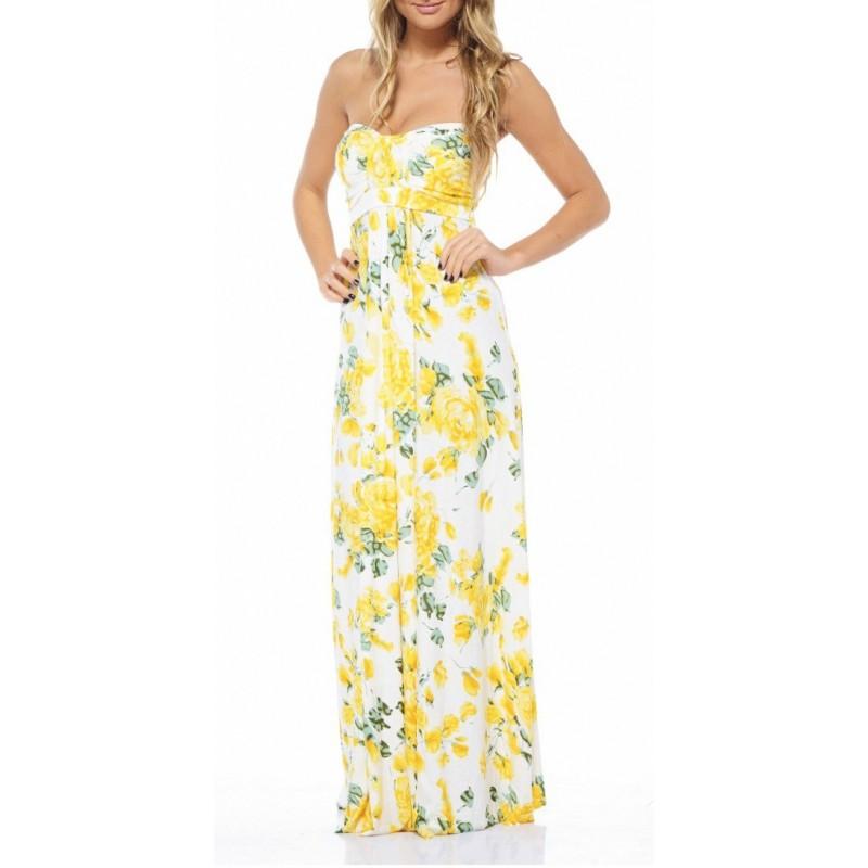Vestido Longo Tomara que Caia Floral Amarelo