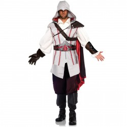 Fantasia Ezio Assassins Creed Masculina Luxo Cosplay