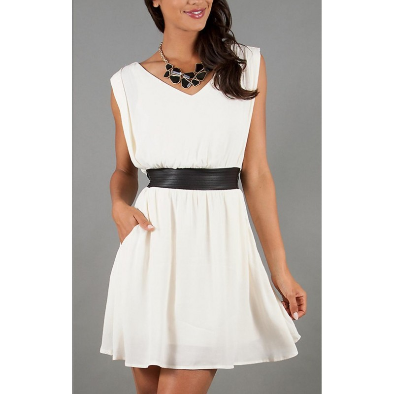 Vestido Branco Chiffon Leve Verão Curto Casual