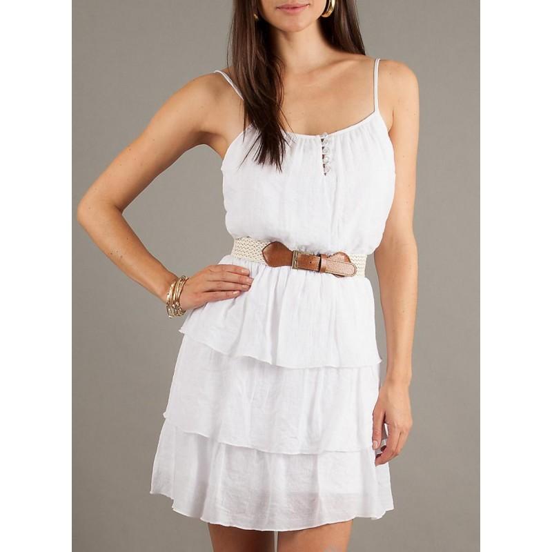 Vestido Branco Curto Verão Saia com Babados Feminino