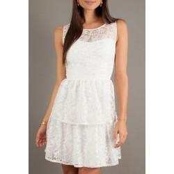Vestido Curto Branco Renda com Babados