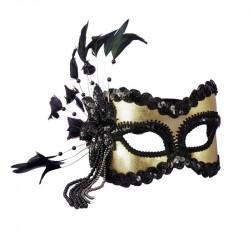 Máscara de Carnaval Feminina Preta e Dourada Festa Fantasia