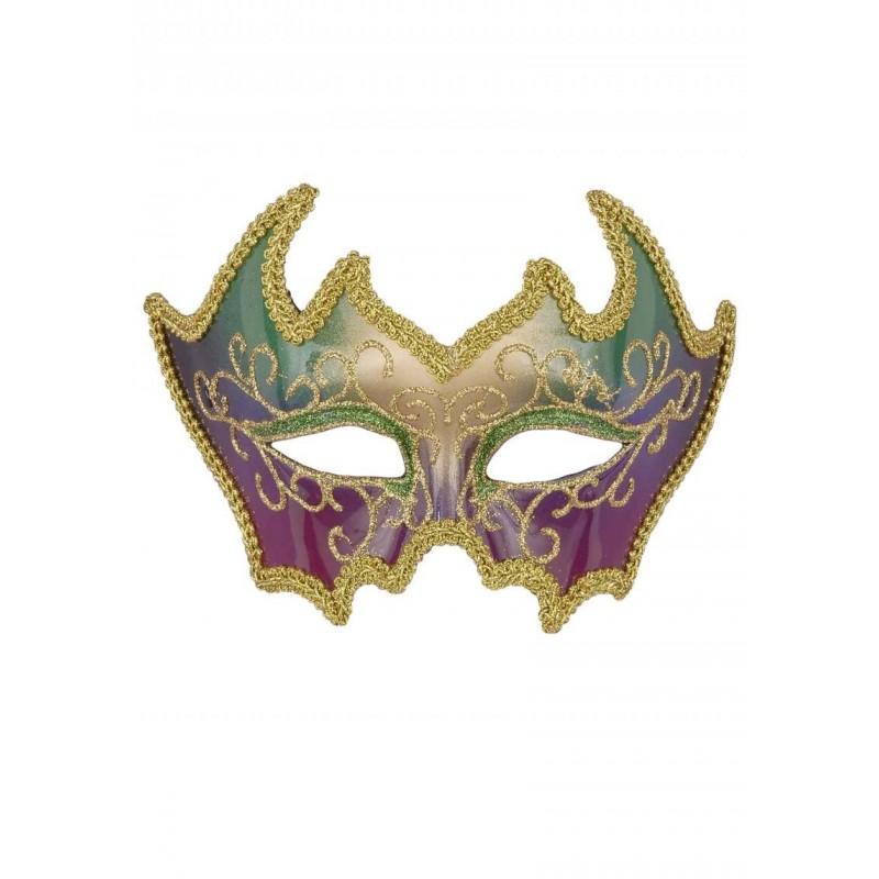 Máscara de Carnaval Feminina Colorida com Dourado