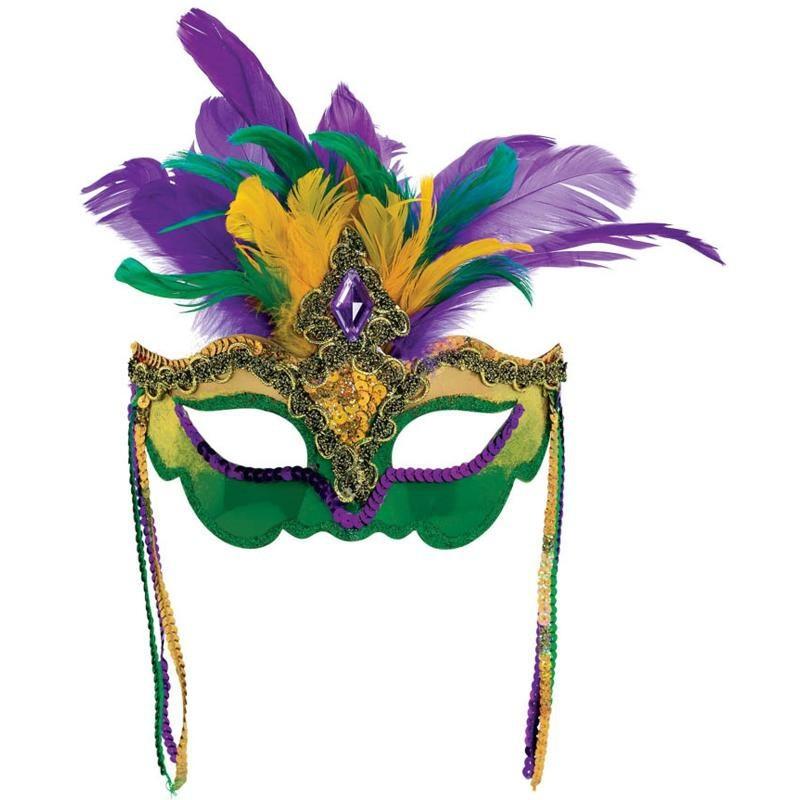 Máscara de Carnaval com Penas Verde e Roxa Fantasia Bloco