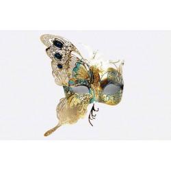 Máscara de Carnaval Luxo Borboleta Dourada Fantasia