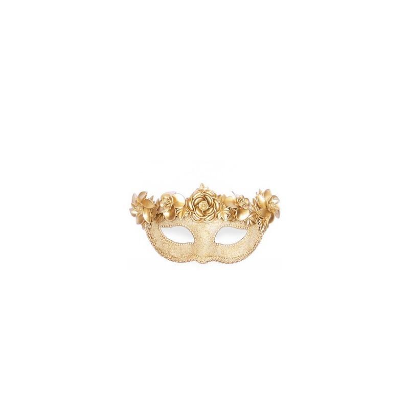 Máscara de Carnaval Dourada Flores Luxo Fantasia Bloco