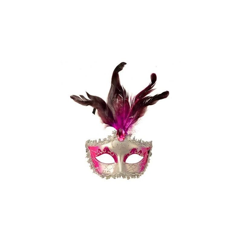 Máscara Mumbai Feminina Carnaval Penas Fantasia Bloco