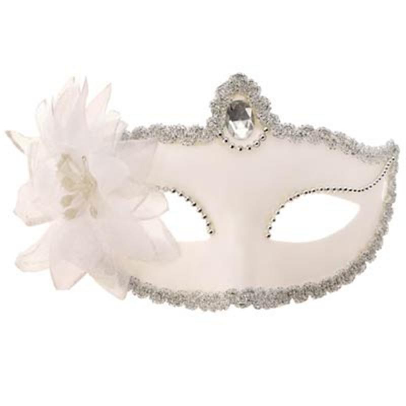 Máscara Veneziana Branca com Brilho Flor Carnaval Baile Bloco