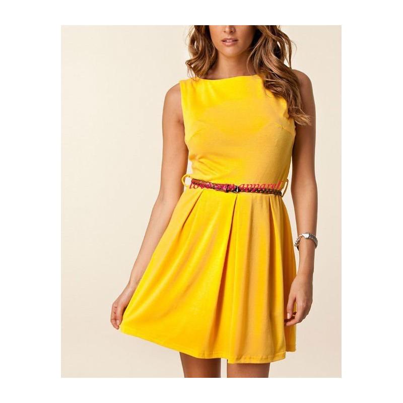 Vestido Amarelo Curto Casual Saia Gode