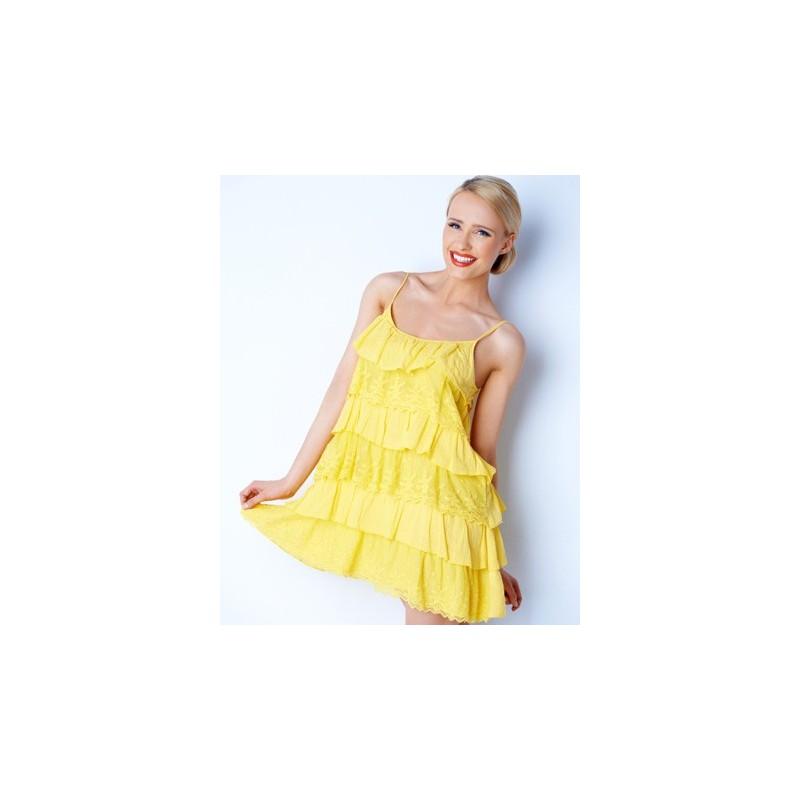 Vestido Amarelo Casual Curto Leve com Babados