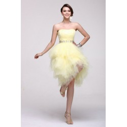 Vestido Festa Decote Coracao Tule Amarelo Curto