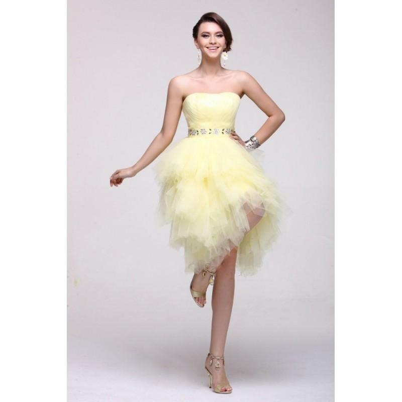 b7ca3b3737 Vestido Festa Decote Coracao Tule Amarelo Curto