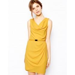 Vestido Amarelo Curto Elegante Trabalho Envelope