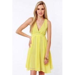 Vestido Casual Amarelo Decote em U Leve Saia Gode