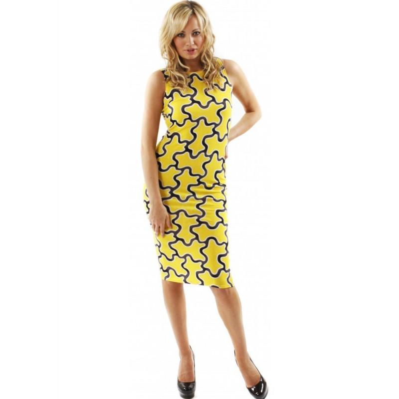 Vestido Estampado Amarelo Justo Elegante